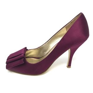 Nine West SARNO 6.5 Peep Toe Satin Heels Purple